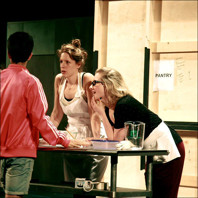 Choreographer Chase Brock working with Jessie Mueller and Jeanna de Waal in rehearsal.