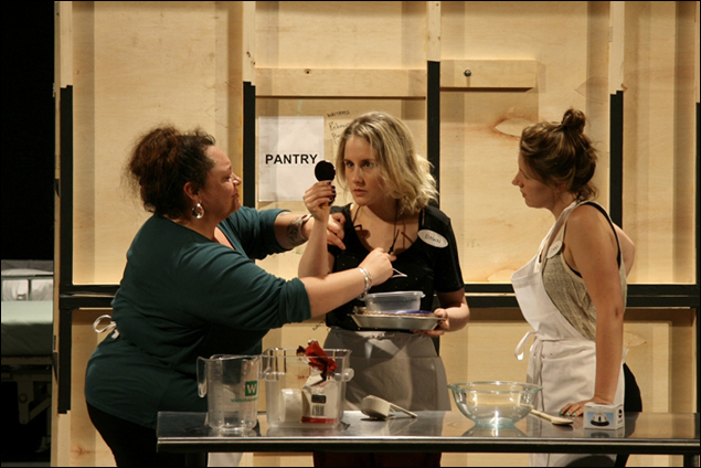 Keala Settle, Jeanna de Waal, and Jessie Mueller run through a scene