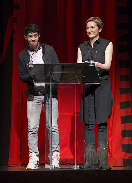 Alex Sharp and Francesca Faridany