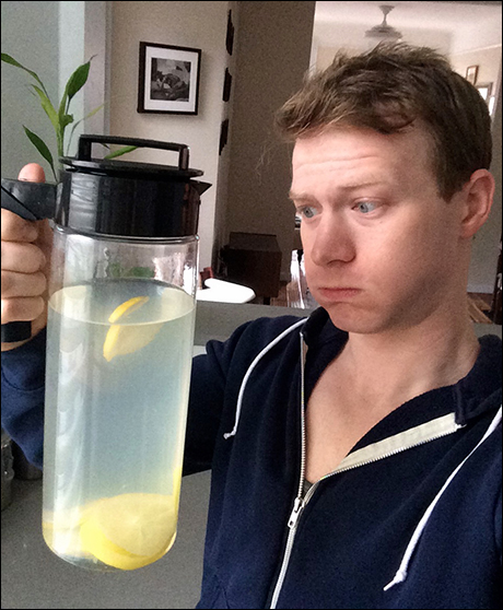 The first thing I do every morning is the tedious task of starting my water intake. I usually drink between 80-100 oz of water before I leave for the theater because I know I'm going to sweat it out later, and it helps clear out phlegm. Clear pee= Clear voice!