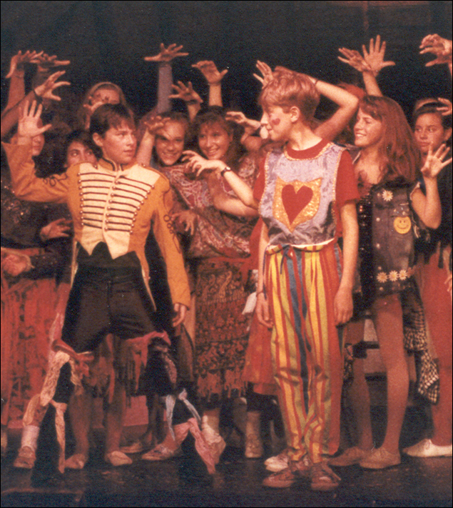 Zach Braff and director Daniel Goldstein in their 1988 Godspell (original inspiration for Goldstein's Bway revival) at Stagedoor Manor