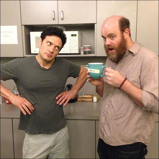 Dropped by the green room to see Paul Whitty (Jeremy's Dad, Mr. Reyes, Scary Stockboy, Awkward Gay Boy) drinking out of Eric's mug. Eric is not happy. Paul does not care.