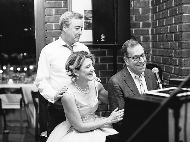"Tom and Vicki at the piano with long-time  friend, musical director, Ted Sperling - who sang  ""Our Love Is Here To Stay."""