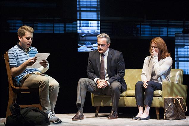 Ben Platt as Evan, Michael Park as Larry and Jennifer Laura Thompson as Cynthia