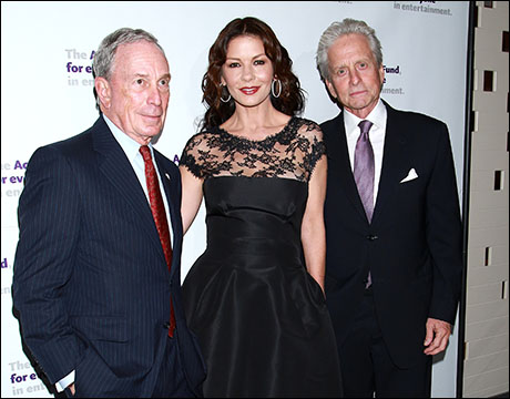 Michael Bloomberg, Catherine Zeta-Jones and Michael Douglas