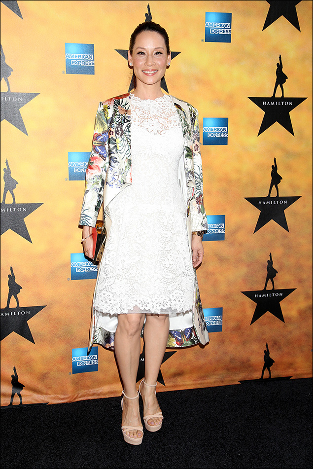 Lucy Liu- Thank you Lucy Liu for giving us a tropical print over that white lace dress. Fresh, clean, fabulous.