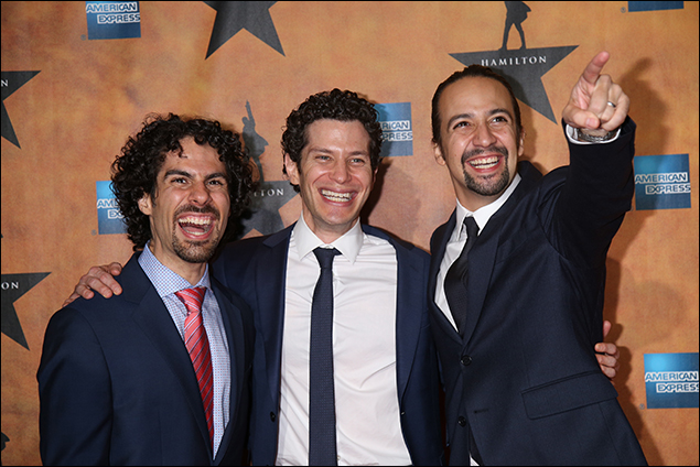 Alex Lacamoire, Thomas Kail and Lin-Manuel Miranda