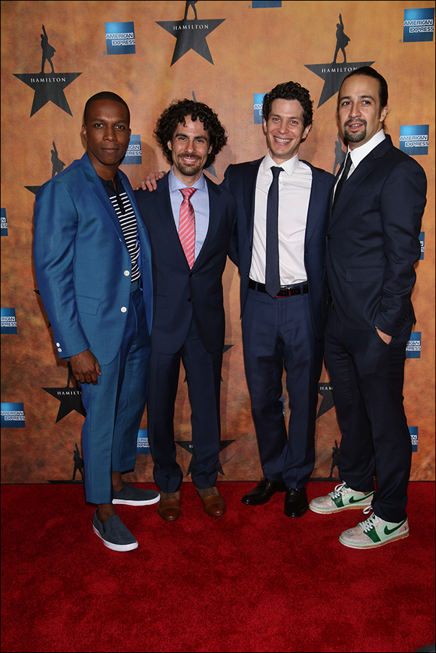 Leslie Odom Jr., Alex Lacamoire, Thomas Kail and Lin-Manuel Miranda