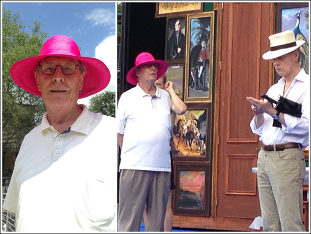 This is Paxton Whitehead. He is playing Colonel Pickering LIKEABOSS. He is a theatrical legend and has the world's best one-liners. He also wore this pink straw hat for the entirety of tech.