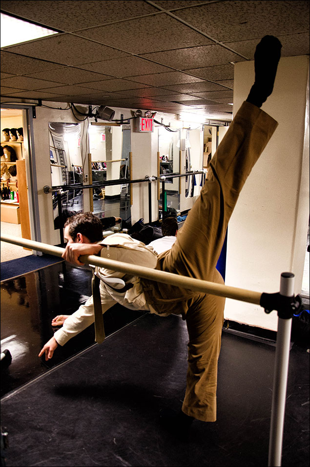 Mikey Cusumano warming up at the barre.