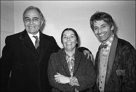 James Mason, Clarissa Kaye and Donal Donnelly at The Faith Healer, 1979