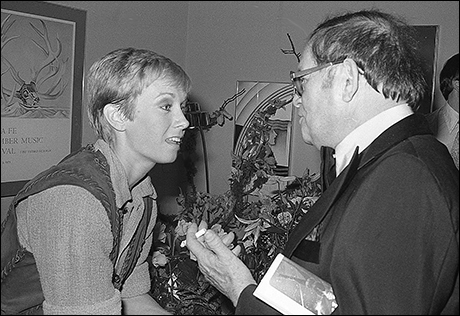 Sandy Duncan with Jule Styne at the pre-broadway opening night of Peter Pan in Washington, DC