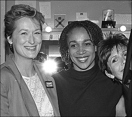 S. Epatha Merkerson with Meryl Streep and Carrie Fisher backstage at The Piano Lesson