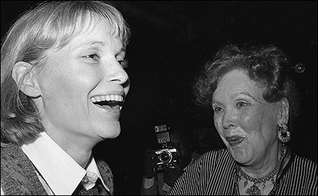 Mia Farrow and her mother Maureen O'Sullivan at opening night of Romantic Comedy