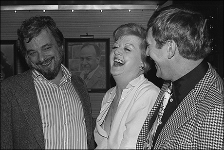Stephen Sondheim with Angela Lansbury and Len Cariou at the meet and greet the night before first rehearsal of Sweeney Todd