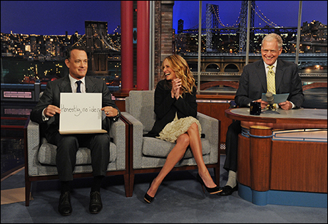 Tom Hanks surprises Julia Roberts and Dave when he drops by on June 30, 2011