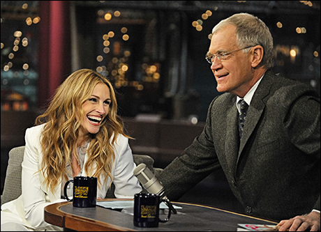 Julia Roberts shares a laugh with Dave on March 17, 2009