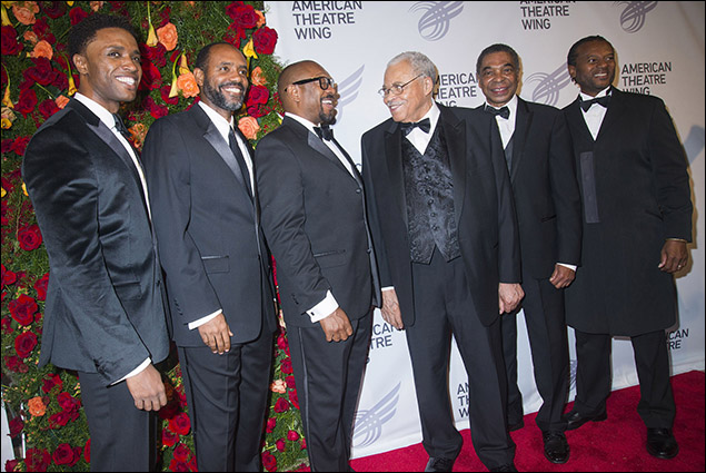 James Earl Jones and 5 Broadway Mufasas (L. Steven Taylor, Nathaniel Stampley, Alton Fitzgerald White, Samuel Wright and Rufus Bonds, Jr.)