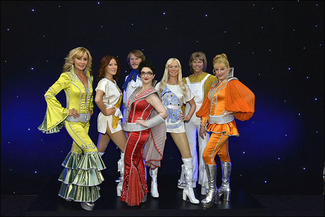 """Dynamos Judy McLane, Lauren """"Coco"""" Cohn and Stacia Fernandez unveil ABBA's wax figures at Madame Tussauds Times Square"""