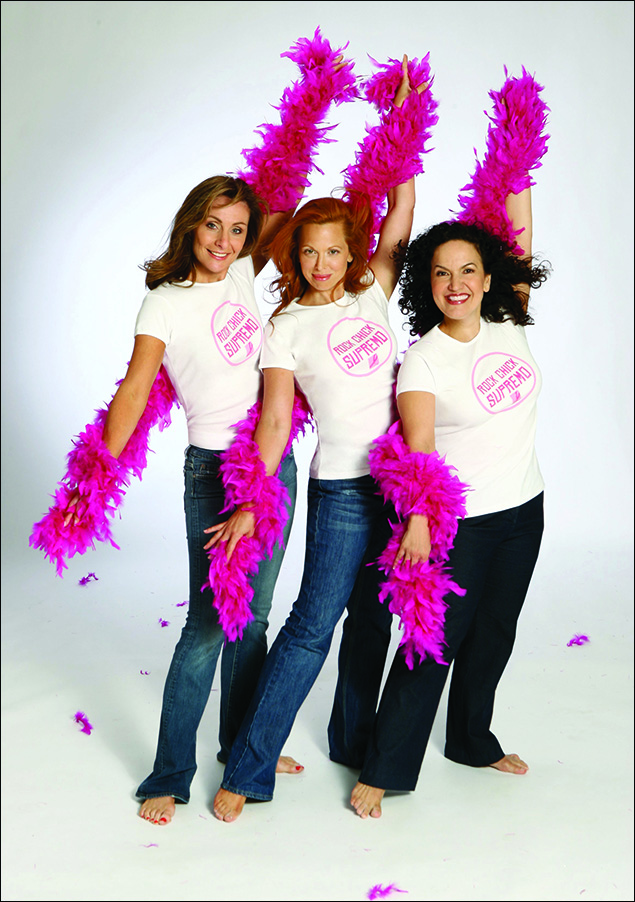 "Dynamos Judy McLane, Carolee Carmello and Olga Merediz support Breast Cancer Research Foundation modeling ""Rock Chick Supremo"" t-shirts"