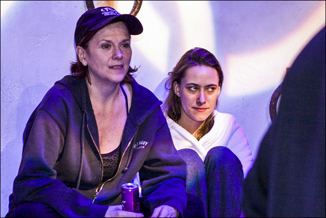 Allison Briner and Felicity Claire intensely watching the MAMMA MIA! OLYMPICS