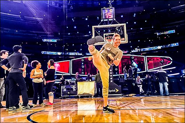 Troy Woodcroft NBA ALL-STAR HALF TIME rehearsal.