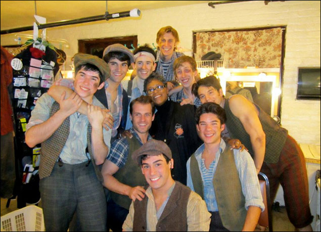 Boys dressing room from Paper Mill with our incredible dresser Debbie Whitehead- Tommy Bracco