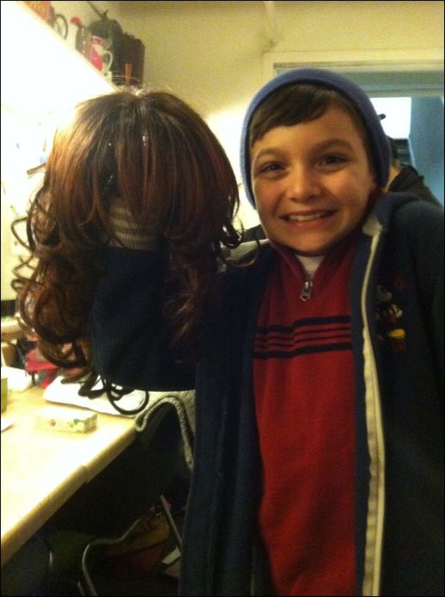 """Luca (lil Les) naming one of my many """"after show"""" wigs, Lola!- Lavon Fisher-Wilson"""