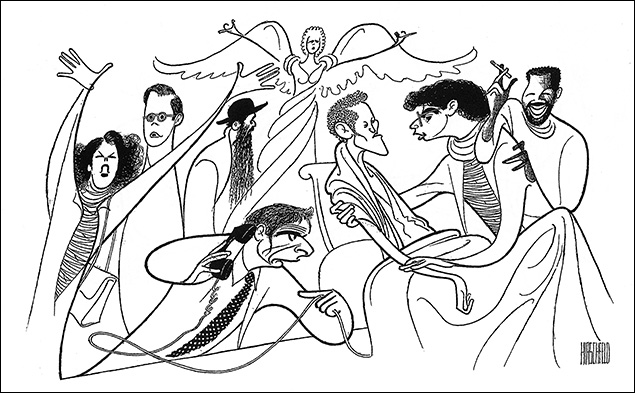 Angels in America Marcia Gay Harden, David Marshall Grant, Kathleen Chalfant, Ron Leibman, Ellen McLaughlin, Stephen Spinella, Joe Mantello, and Jeffrey Wright, 1993 Roy Cohn was brought back to life by Ron Leibman in Tony Kushner's Pulitzer Prize and Tony winning play.