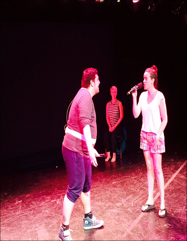 "Jenna and I rehearse ""Love Is An Open Door"" (as Leigh looks on)… also, shot # 6! (Fun fact: Jenna has been in every incarnation of Wunderkind since its inception over a year ago!)"