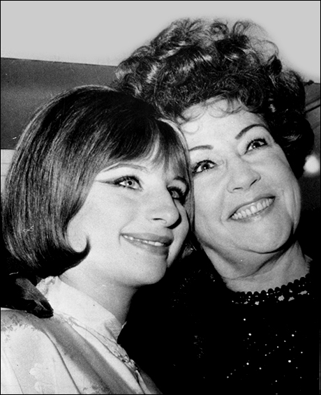 Streisand and Ethel Merman backstage at the Winter Garden Theatre, March 26, 1964.