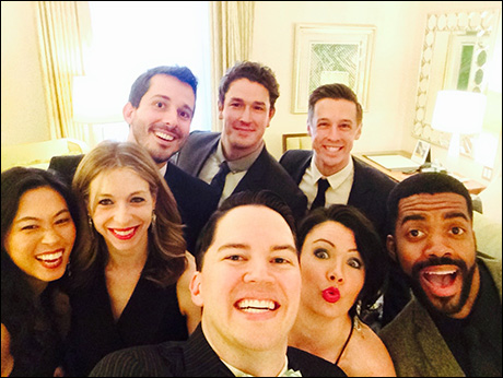 Before heading down to the red carpet, the gang stops for a quick selfie.