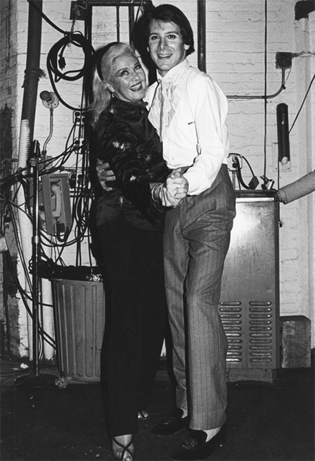 Ginger Rogers visits backstage at The Elephant Man with star Philip Anglim - 1979