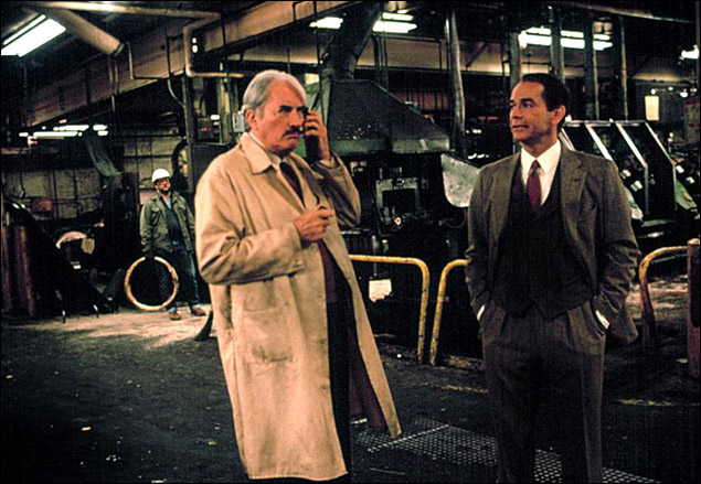 Gregory Peck and Dean Jones in the film version of the play Other People's Money in 1991.