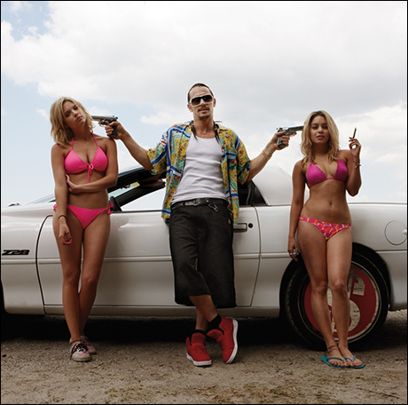 "Hudgens with Ashley Benson and James Franco in ""Spring Breakers"" (2012)"