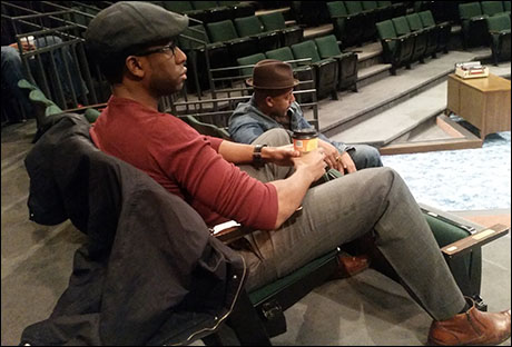 Step 8- Don't get distracted by how comfy William Oliver Watkins (Kareem) and Morocco Omari (Jim Brown) look sitting in those chairs…