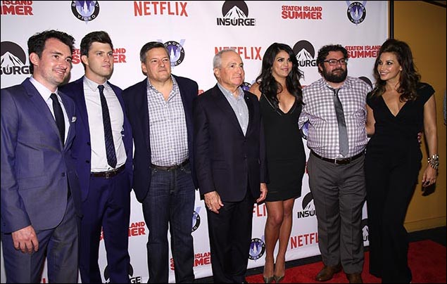 Rhys Thomas, Colin Jost, Ted Sarandos, Lorne Michaels, Cecily Strong, Bobby Moynihan and Gina Gershon