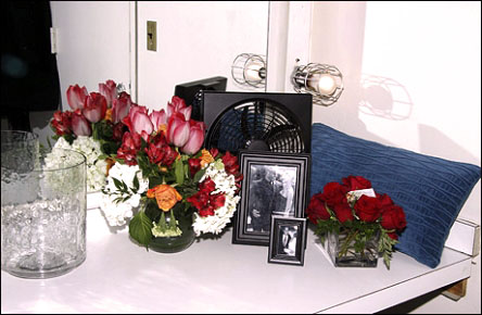 """""""This corner is now filled with flowers.  Opening night was a big flower night."""""""