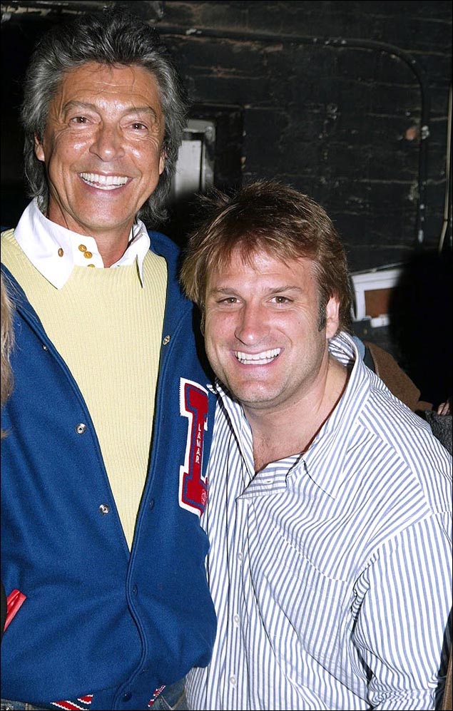 Tommy Tune and Jeff Calhoun celebrate the 200th performance of Brooklyn: The Musical in 2005.