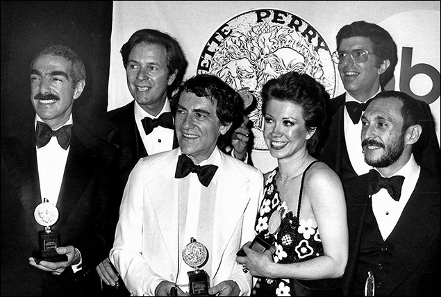 1976: Bob Avian, James Kirkwood, Joe Papp, Donna McKechnie, Marvin Hamlisch and Michael Bennett