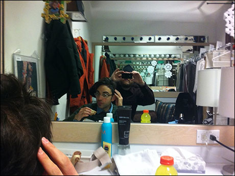 Now, we're in the dressing room. Good day to you, Ben Steinfeld. Your hair looks very nice. Ben is Fiasco co-Artistic Director, director of WOODS and plays the Baker. He also eats sandwiches and drinks yellow Gatorade.