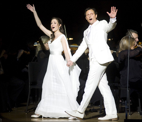 Laura Osnes and Tony Goldwyn in a 2012 Carnegie Hall concert production