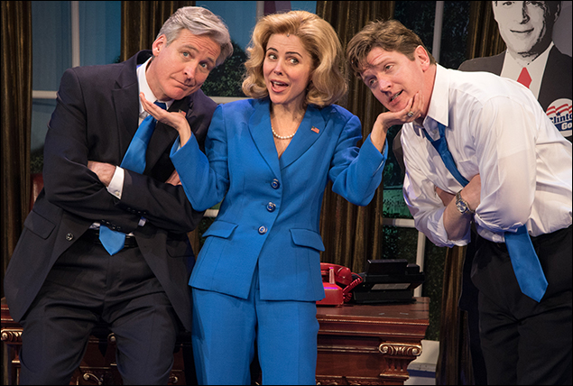 Duke Lafoon, Kerry Butler and Tom Galantich in Clinton the Musical at New World Stages