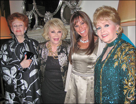 Arlene Dahl, Joan Rivers, Melissa Rivers and Debbie Reynolds at the Cafe Carlyle