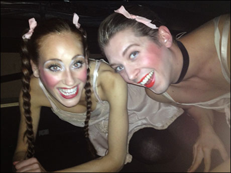 """Leeds and I underneath the stage getting ready to make our surprise """"Two Ladies"""" entrance."""