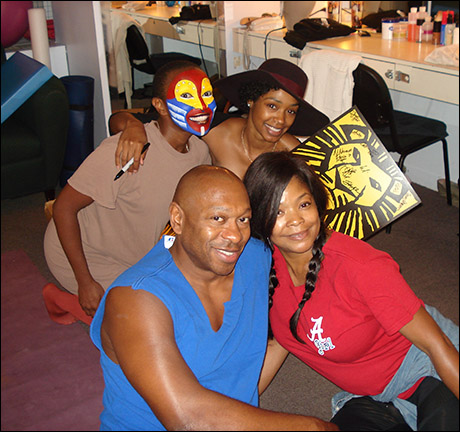 On my way to the makeup chair, I stopped next door to say hello to Bonita Hamilton (Shenzi), Chantel Riley (Nala), and Nteliseng Nkhela (Rafiki).