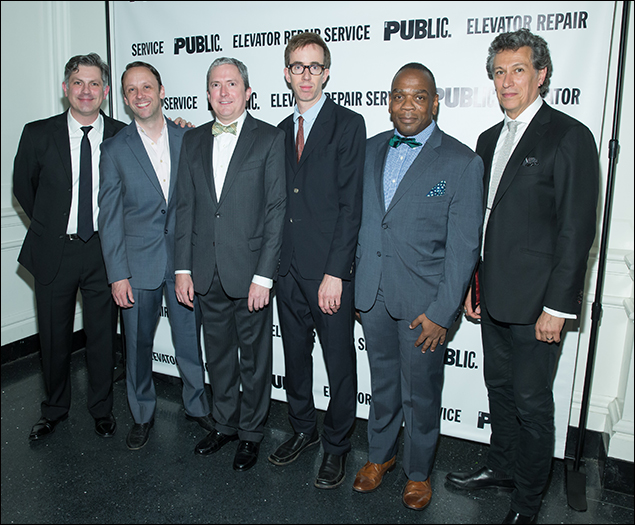 ERS Artistic Director John Collins and The Sound and the Fury company members Mike Iveson, Vin Knight, Aaron Landsman, Greig Sargeant, and Randolph Curtis Rand