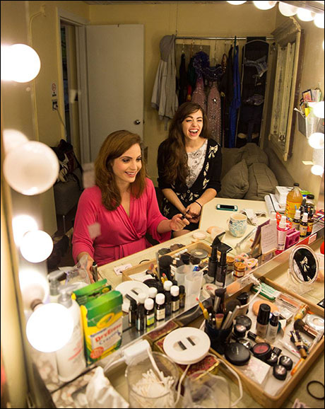 Mary Michael Patterson and Kaley Ann Voorhees share a laugh in the Christine dressing room.
