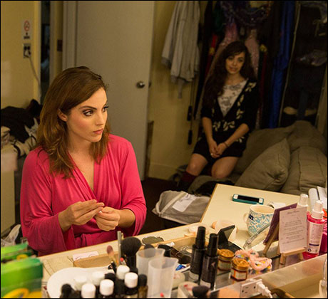 Mary Michael Patterson and Kaley Ann Voorhees check-in with one another in the Christine dressing room as Mary Michael does her make-up for the performance.