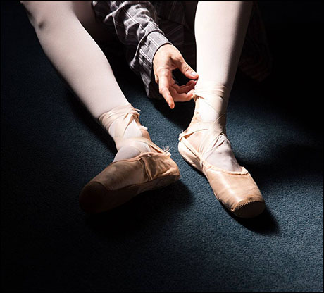A quiet moment for ballerina Jessica Radetsky backstage at the Majestic Theatre.